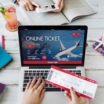Vliegticket vlucht boekingsconcept