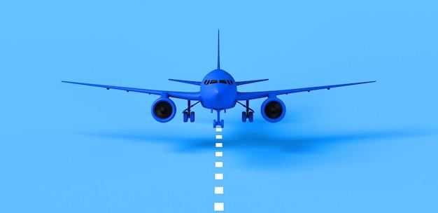 Vliegtuig dat op baan landt. achtergrond. banier. 3d illustratie.