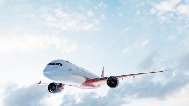 Vliegtuig die op blauwe hemel vliegen.