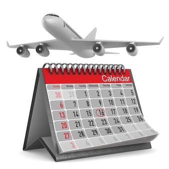 Vliegtuig en kalender op wit