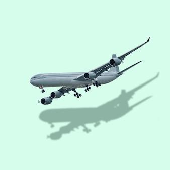 Vliegtuig en reflectie op pastelgroene achtergrond