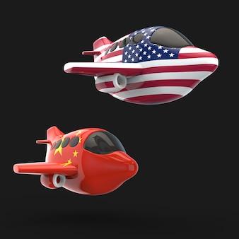 Vliegtuig en vervoerconcept - 3d illustratie