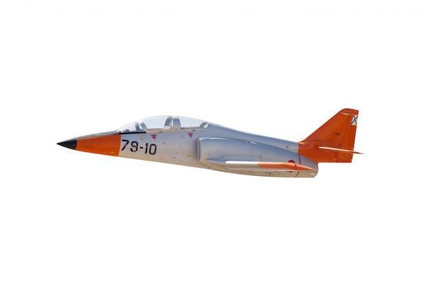 Vliegtuig met oranje details op een witte achtergrond
