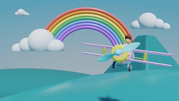 Vliegtuig met wolken en bergen, 3d render reizen concept