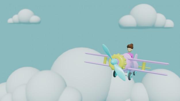 Vliegtuig met wolkenillustratie, 3d geef reisconcept terug