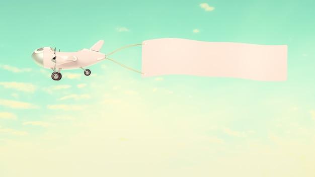 Vliegtuig model roze pastel kleur met lege banner mock-up voor uw tekst