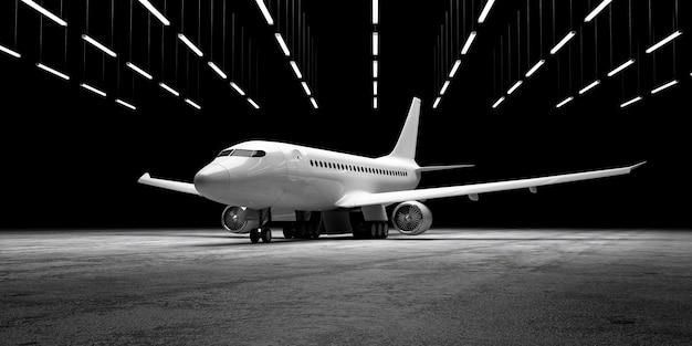 Vliegtuig op betonnen vloer bij hangar met lampenverlichting