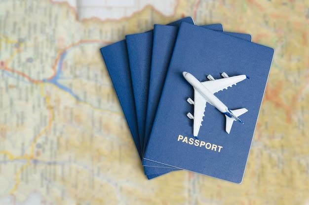 Vliegtuig op de blauwe paspoorten.