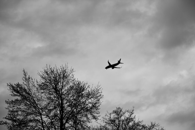 Vliegtuig outined tegen een grijze bewolkte hemel