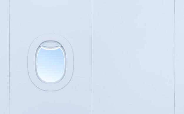 Vliegtuig ramen. realistische vliegtuigenpatrijspoorten met hemel.