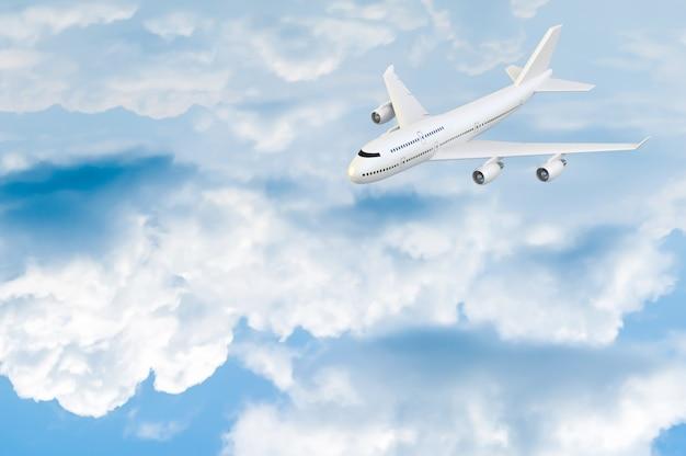 Vliegtuig vliegend model op blauwe hemel