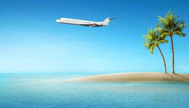 Vliegtuig vliegt boven de oceaan