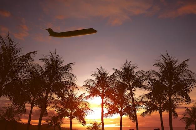 Vliegtuig vliegt boven tropisch eiland