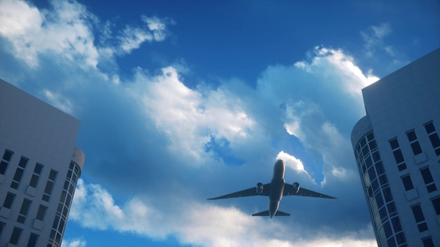 Vliegtuig vliegt over wolkenkrabbers