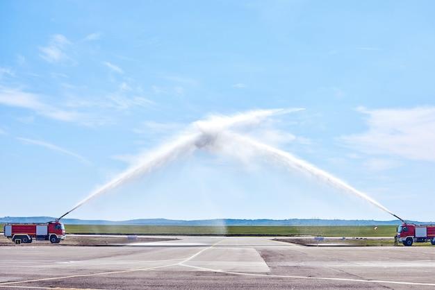 Vliegtuig water begroeting procedure