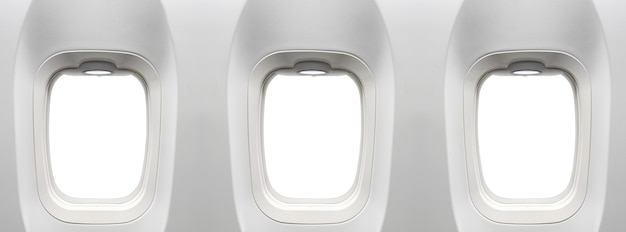 Vliegtuig windows windows advertentie geplaatst op lege witte vliegtuig windows