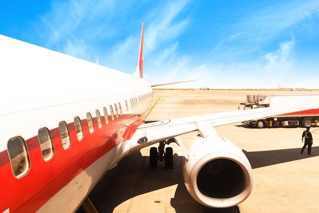 Vliegtuigen china shanghai luchthaven asfalt