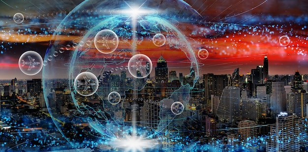 Vliegtuigen in bel tussen vliegen tussen twee landen over wereldwijde netwerk abstracte deeltjes