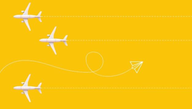 Vliegtuigen met parcours op gele achtergrond 3d-rendering en papier vliegtuig illustratie