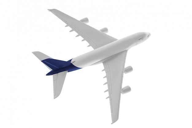 Vliegtuigmodel met blauwe kleur op staart die op witte achtergrond wordt geïsoleerd