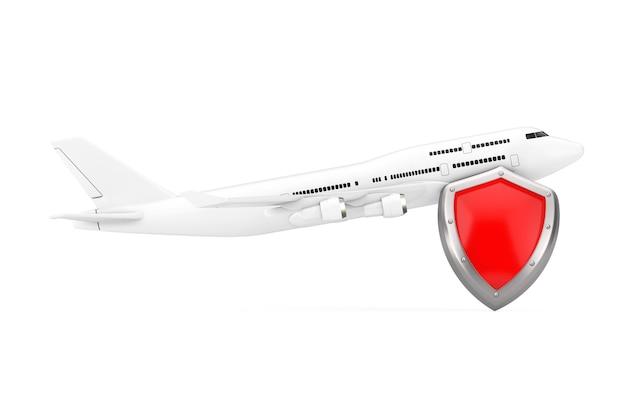Vliegtuigonderhoud en veiligheidsconcept. white jet passagiersvliegtuig met red metal protection shield op een witte achtergrond. 3d-rendering