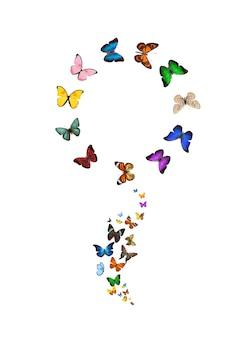 Vlinders in de vorm van een bloem geïsoleerd op een witte achtergrond. tropische insecten. gekleurde motten voor design. hoge kwaliteit foto