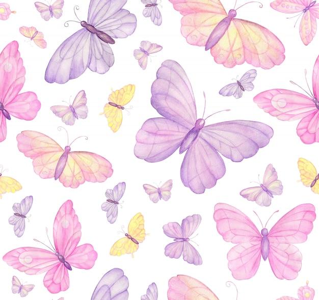Vlinders op wit naadloos patroon