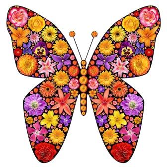 Vlindersilhouet gemaakt van bloemen