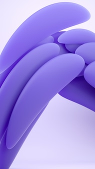 Vloeibare abstracte vormen 3d-rendering illustratie. paars zacht rubber materiaal op lichte achtergrond. creatief trendy behang.