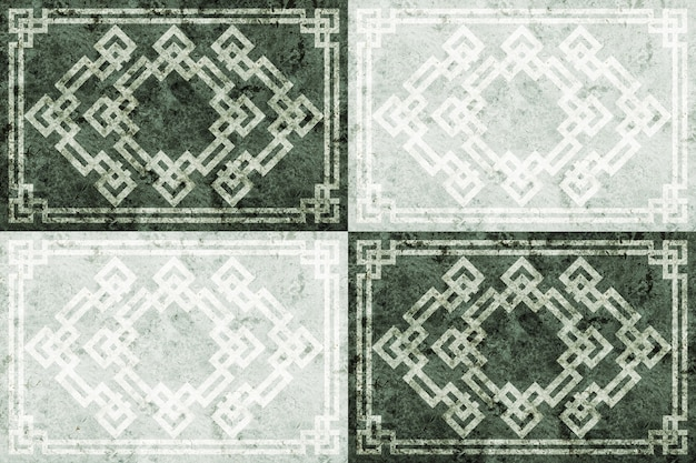 Vloertegels van natuursteen marmer of graniet met patronen.