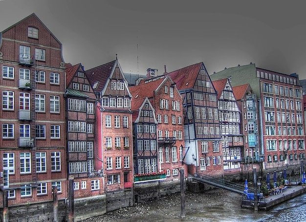 Vloot weg dijk haven huizen hamburg