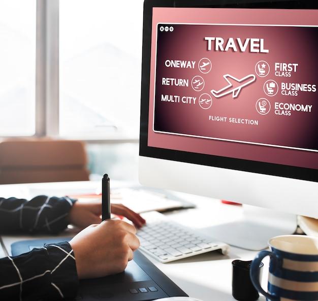 Vlucht informatie selectie toerisme transport concept