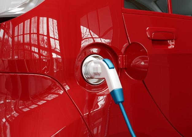 Voeding voor opladen van elektrische auto's. oplaadpunt voor elektrische auto's. 3d-rendering illustratie