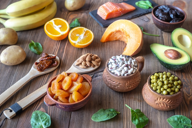 Voedingsmiddelen die veel kalium bevatten