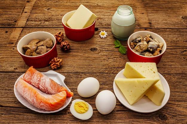 Voedingsmiddelen die vitamine d bevatten. kaas, eieren, boter, noten, melk, sardine, zalm, lever