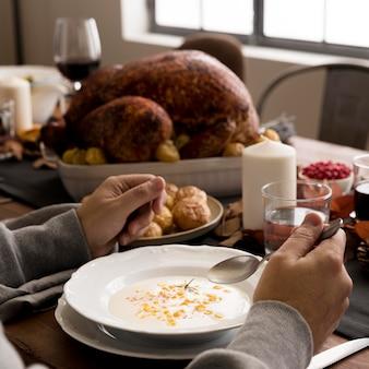 Voedsel bereid voor close-up van thanksgiving day