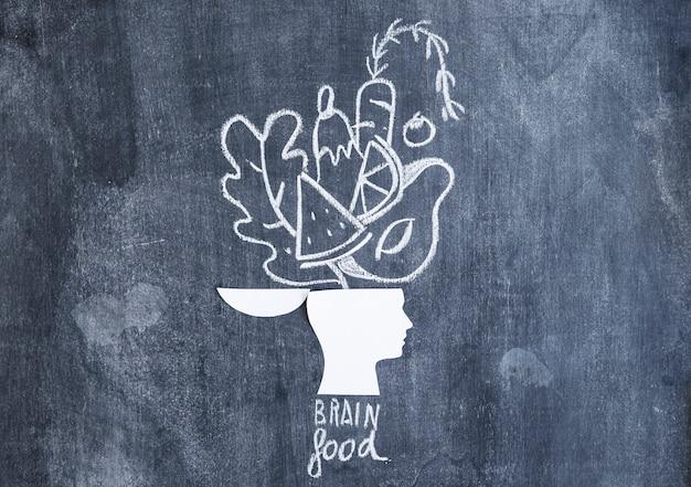 Voedsel dat over de open hoofddocument knipsel met tekst op bord wordt getrokken