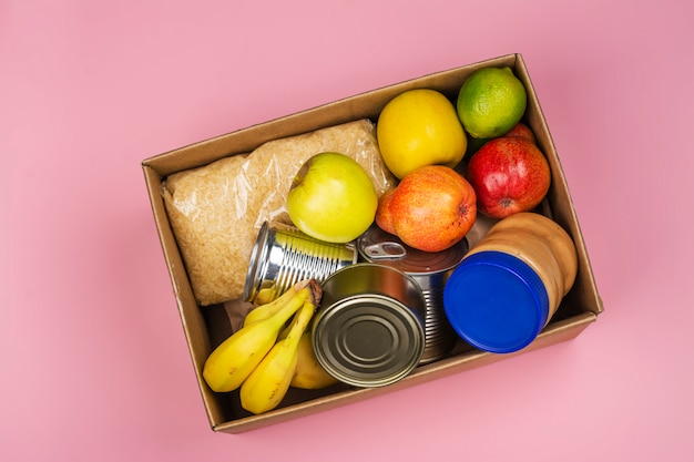 Voedsel donatiebox, diverse producten
