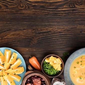 Voedsel frame met kopie-ruimte bovenaanzicht