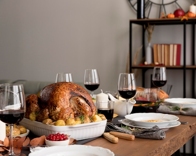 Voedsel geserveerd op thanksgiving day