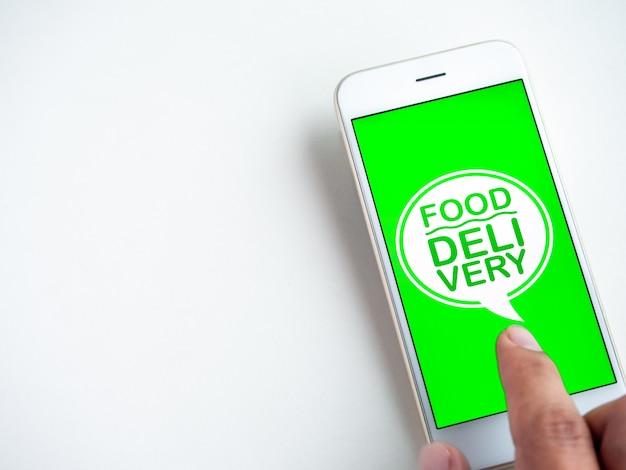 Voedsel levering concept. woorden