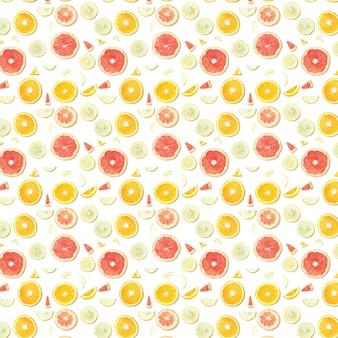 Voedsel naadloos patroon van citrusvruchtenplakken die op wit oppervlak worden geïsoleerd