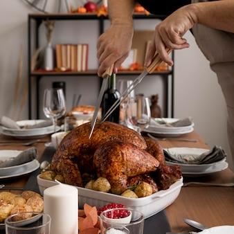 Voedselbereidingen voor thanksgiving day