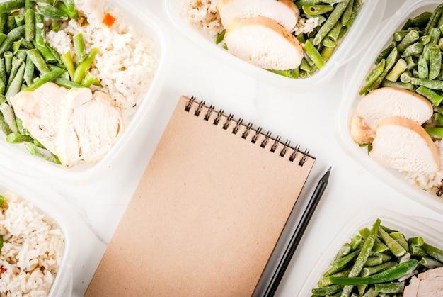 Voedselcontrole, dieetconcept, orthorhysis. gezonde uitgebalanceerde maaltijden
