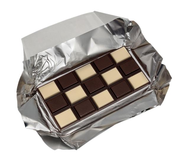 Voedselinzameling - tegel zwarte en witte chocolade, ondiepe dof.