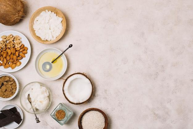 Voedzaam frame met kokosproducten