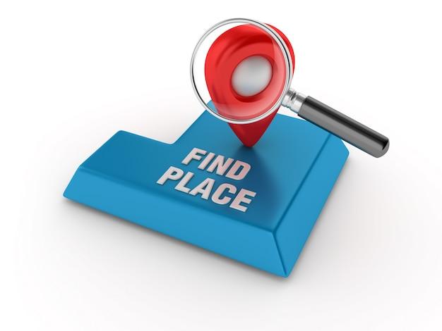 Voer de sleutel in met gps-markering en loep