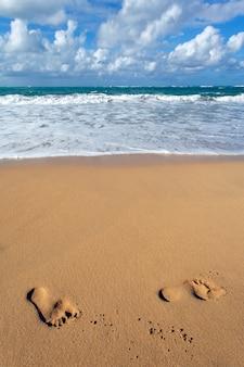 Voet op het strand