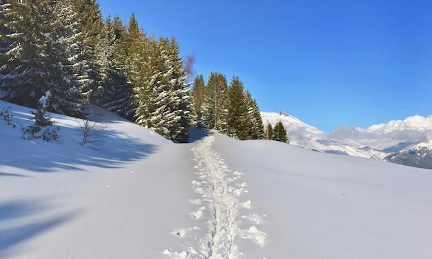 Voetafdruk in de verse sneeuw die met sneeuw bedekte berg kruist onder blauwe hemel