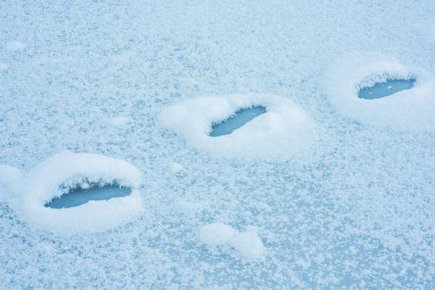 Voetafdrukken in de sneeuw
